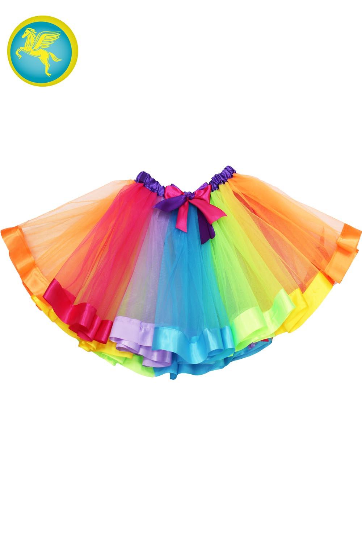 in vendita fb5ab 0b69c Gonna di tulle multicolore con raso bambina 35cm